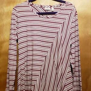 Maroon and White Striped Long Sleeve with Lace